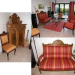 1 Gründerzeitsofa + 2 Sessel + 2 Stühle