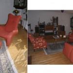 Leolux-Sessel und großer Backensessel passend zum bestehenden 2-Sitzer bezogen