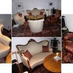 1 Louis-Philippe-Sofa und 2 Louis-Philippe-Sesselchen + 1 Biedermeiersessel