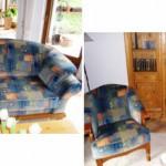 Sofa 2,5 + 2 Sessel mit Piniengestellteilen